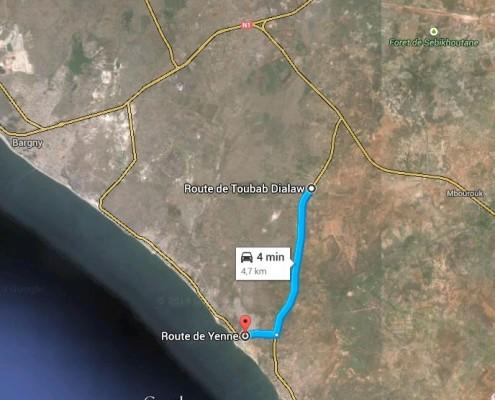 percorso yenne - route de toubab dialaw