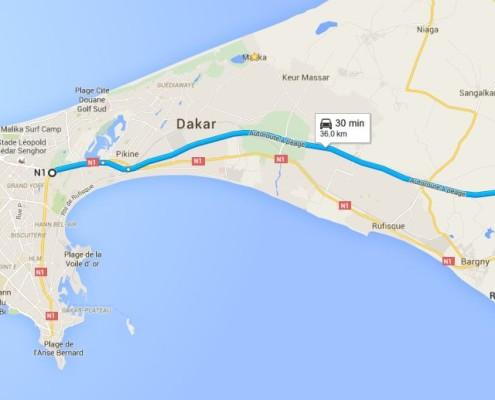 percorso dakar-route de toubab dialaw