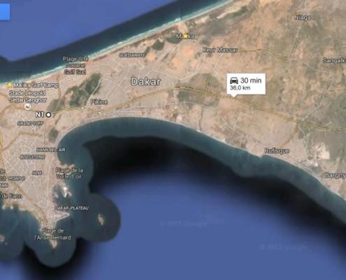 mappa dakar-route de toubab dialaw